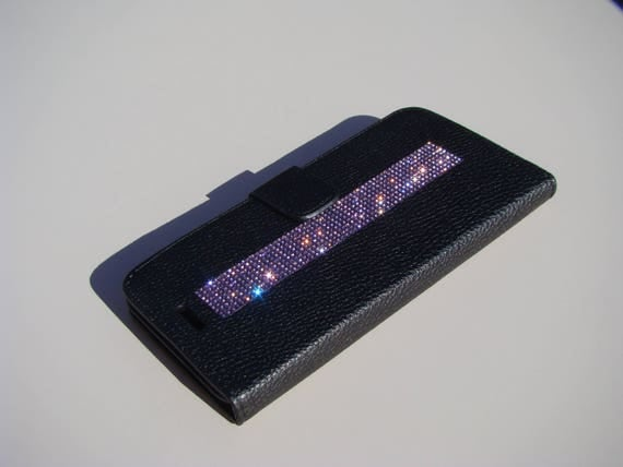 iPhone 8 Plus / iPhone 7 Plus Case Purple Amethyst Rhinestone Crystals on Black Wallet Case. Velvet/Silk Pouch bag Included, .