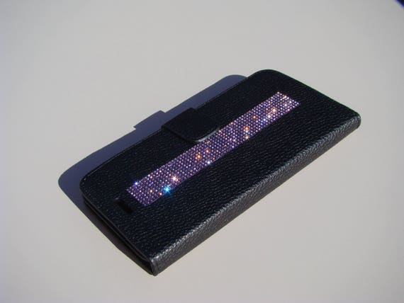 iPhone 7 Plus Case Purple Amethyst Rhinestone Crystals on Black Wallet Case. Velvet/Silk Pouch bag Included, Genuine Rangsee Crystal Cases.
