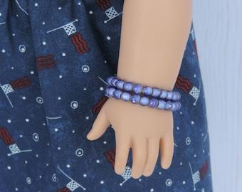 Indigo Blue Bracelet Set for American Girl Dolls and other 18 inch dolls, Fourth of July