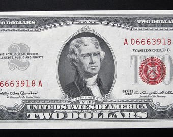 1963 Two Dollar Red Seal United States Note Uncirculated A 06663918 A