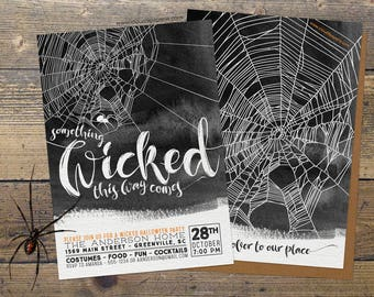 PRINTED Halloween Party Invitation, Something Wicked This Way Comes Halloween Invitation Watercolor, Adult Halloween Invite, Halloween Bash