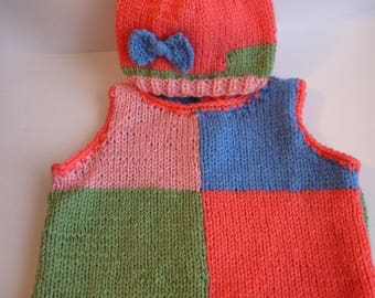 SET baby sweater and matching Hat colorful multicore size 3 months hand knitted