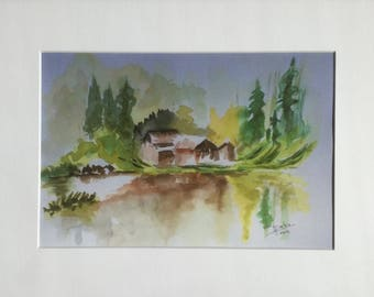 Reproduction of my Watercolour - chalet in mountain