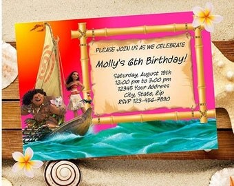 60% OFF SALE Moana Party Invitation Download, Maui and Moana party, Instant Downlaod, PDF and Blank Template Provided, Unlimited Printing, D