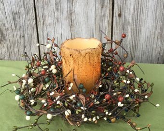 Fall Candle Wreath with Pip Berries, Pip Berry Candle Ring, Fall Centerpiece, Fall Mini Wreath, Autumn Wreath, Autumn Decor, Fall Decor