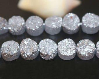 8mm 10mm 12mm 14mm, Titanium Druzy Beads, Silver Round Drilled Druzy beads, Druzy Agate Beads, Druzy Quartz,