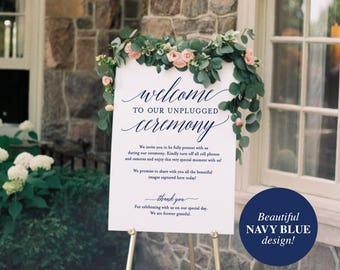 Navy Unplugged Wedding Sign, Unplugged Ceremony Sign, Unplugged Wedding, Unplugged Sign, Wedding Unplugged, PDF Instant Download #BPB320_35
