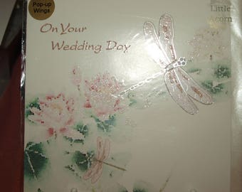 On Your Wedding Day Card with a Dragonfly and Waterlily