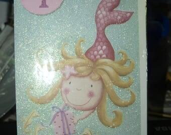 Girl's Age 4 Mermaid Birthday Card