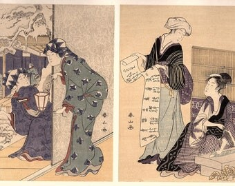 1906, Japanese antique woodblock print, Katsukawa Shunzan, from Ukiyoe-ha-gashu.