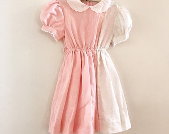 Vintage Youngland girls pink white Colorblock dress size 6