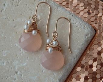 Rose Quartz Earrings, 14 Carat Rose Gold Filled Earrings, Gemstone Earrings, Quartz Earrings, Wire wrapped Earrings, Gold Filled Earrings