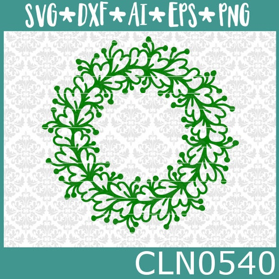 CLN0540 Leafy Clover Monogram Circle Mandala Hearts Flowers SVG DXF Ai Eps PNG Vector Instant Download COmmercial Cut FIle Cricut SIlhouette