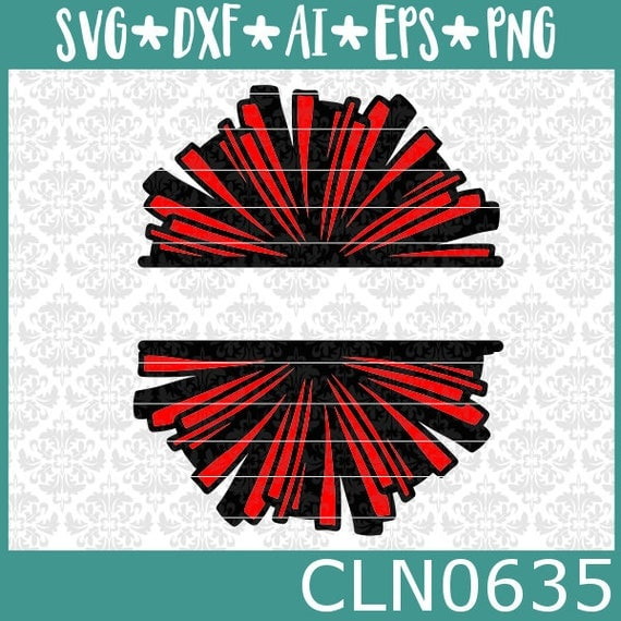 CLN0635 Cheerleader Pom Pom Split Cheer Team Pride Squad SVG DXF Ai Eps PNG Vector Instant Download Commercial Cut File Cricut Silhouette