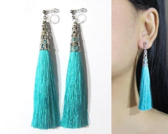 Teal Green Tassel Clip On Earrings |35Q| Boho clip earrings, Dangle Long Clip Earrings, filigree silver clip-ons, Invisible clip on earrings