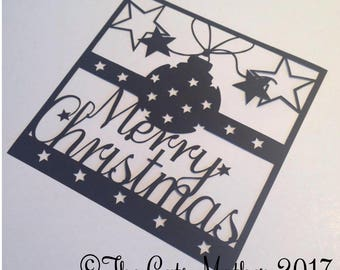 Merry Christmas Star Bauble Card Paper Cutting Template - Commercial Use