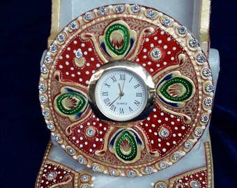 White Green/Red Watch/  Marquetry  Handmade Inlay work with semiprecious stone/pietra dura approx