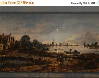 20% Off Sale - Poster, Many Sizes Available; River View By Moonlight By Aert Van Der Neer