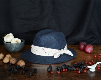Heather Burgundy fedora hat decorated with a cotton scarf