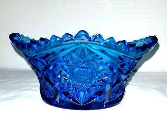 L E Smith Hobstar Candy Dish, Cobalt Blue Glass, Sawtooth Dish,Vintage Glass,Blue Glass,L E SMITH Glass,Blue Glass Candy Dish,Cobalt,1940s