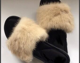 Genuine mink slides with memory foam sole