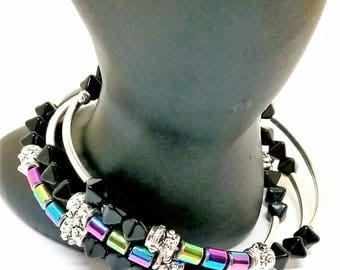 Rainbow, metallic Hemalyke triple wrap bracelet.