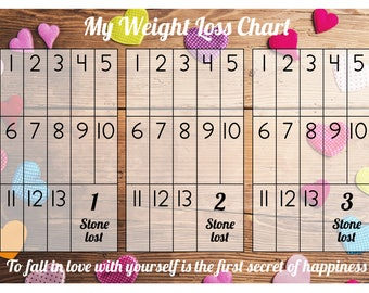 Weight Loss Chart / Tracker - 3 stone - Comes with Star Stickers - Weight Loss Motivation - A4 laminated 300gsm Card