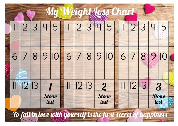 Weight Loss Chart / Tracker 3 stone Comes with Star