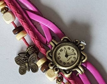 Decorative watch (not functional) pink leather suede decoration to wear with scarfs Les Creations Manon