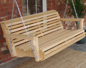 Brand New 6 Foot Cedar Wood Contoured Classic Porch Swing with Heavy Duty Chain and Springs - Free Shipping