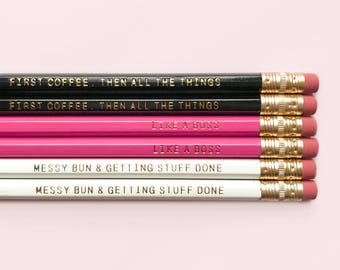 Anything's Possible With Coffee Pencil Set, Gift for Her, Gift for Boss, Boss Lady, Desk Accessories, Gold Engraved Pencils, Back To School