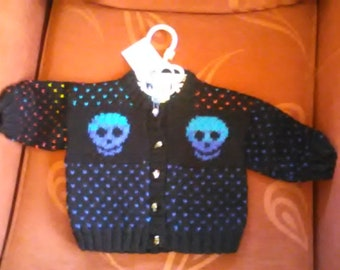 Hand knitted Skull themed cardigan to fit a child aged 6-12 months old