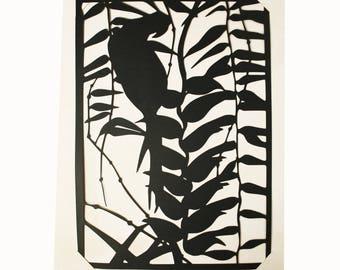 Découpage en papier noir perroquet _Claire Colin