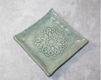 Stormy Seas (blue/green) Square Mandala ring dish. For bridesmaid, wedding favor, ring holder, prom, bride, coaster.