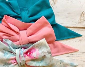 Gorgeous Wrap Trio (3 Gorgeous Wraps)- Teal, Dusty Rose & Sky Floral Gorgeous Wraps; headwraps; fabric head wraps; bows
