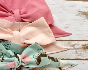 Gorgeous Wrap Trio (3 Gorgeous Wraps)-Vintage Pink, Light Pink & Enchanted Butterflies Gorgeous Wraps; headwraps; fabric head wraps