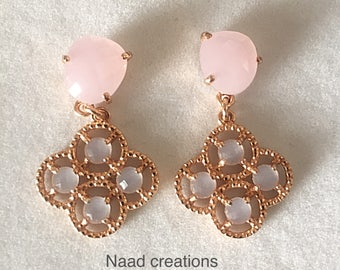Silver and Rose Quartz earrings