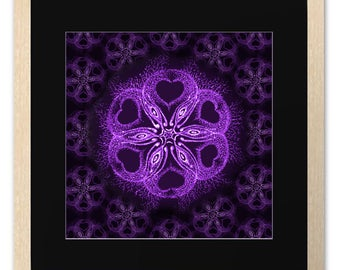 Alien Invasion, Psy Art Print, Poster, Drawing, Pattern, Aliens, Wall Art, Room Decor, Purple, Spiritual Symbol, Love, Message, Flower, Gift