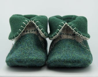 Lovat Green Check Harris Tweed Baby Booties with Forest Green Fleece