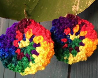 Large Round Colorful Knitted Earrings, Knitted Earrings, Rainbow Earrings, Big Earrings, Holiday Earrings
