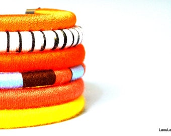Orange Squise tribal African Neck rings, 6 piece statement necklace