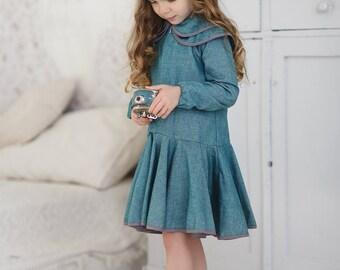 Collar toddler dress-Cyan cotton dress-Toddler long sleeve dress-Organic toddler dress-Birthday girls dress-Autumn girls dress-School dress