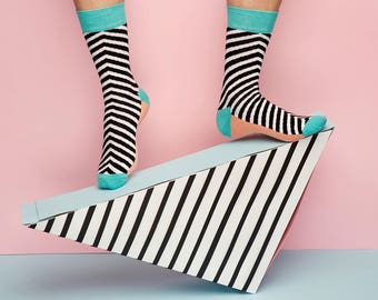 Yukon Socks with  Black and White Stripes  for  Men and Women