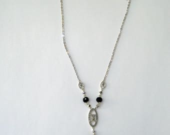 Judith Jack Sterling Silver, Onyx and Marcasite Y pendant
