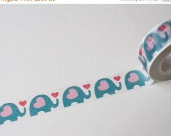 30% OFF ENTIRE STORE Blue Elephant & Pink Hearts, Washi Tape