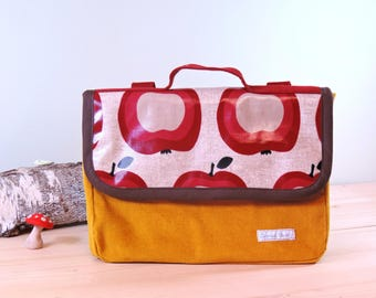 kindergarten school bag, bag in velvet fabric and mustard plaster Apple