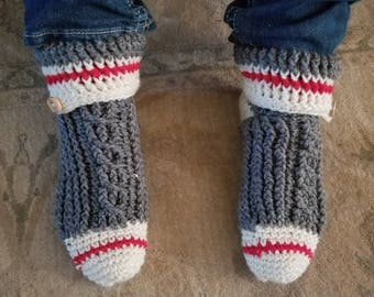 Crochet sock monkey slippers