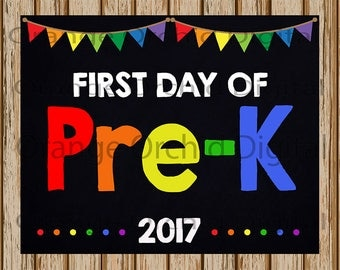 "INSTANT DOWNLOAD- First Day of Pre-K Sign- School Chalkboard sign- School Digital Sign-School Photography Prop-8"" x 10"" image-Digital"