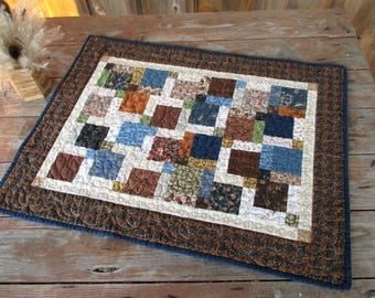 Rustic Country Cabin Decor, Quilted Table Runner, Primitive Table Topper, Masculine Patchwork Scrap Quilt, Brown Blue Green Mat, Earth Tone