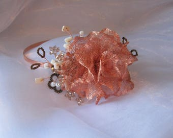 Copper flower hairband